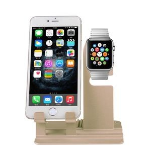 Gold iPhone and Apple Watch stand
